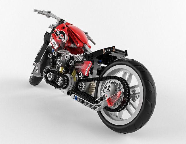 lego technic motorbike alternative 3d model max obj fbx. Black Bedroom Furniture Sets. Home Design Ideas