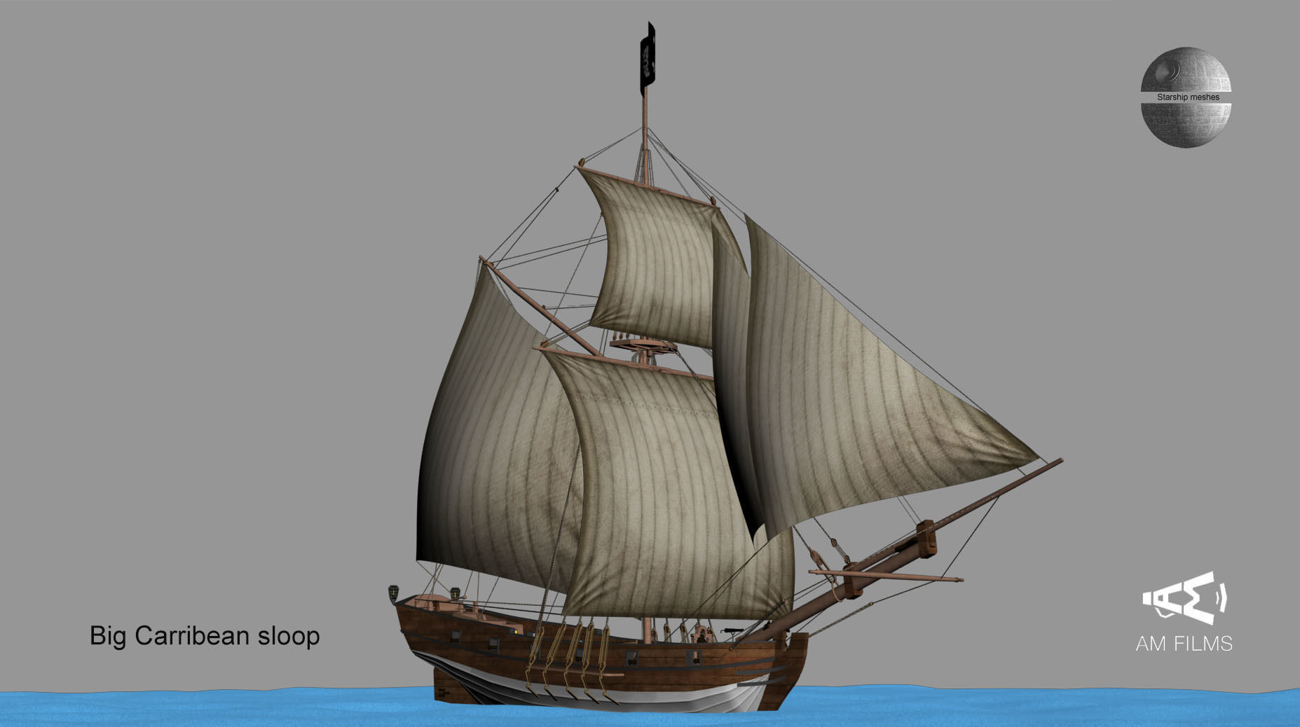 Big Carribbean sloop