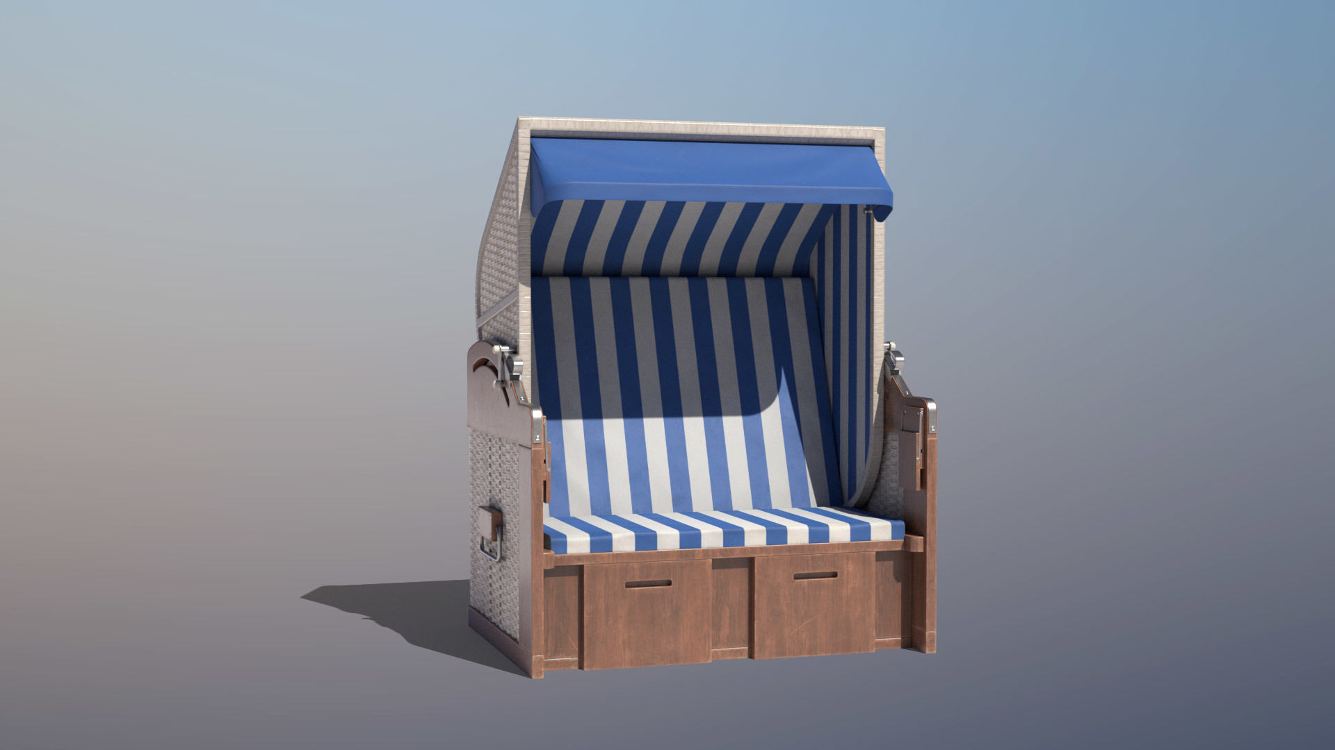 Roofed Wooden Beach Seat