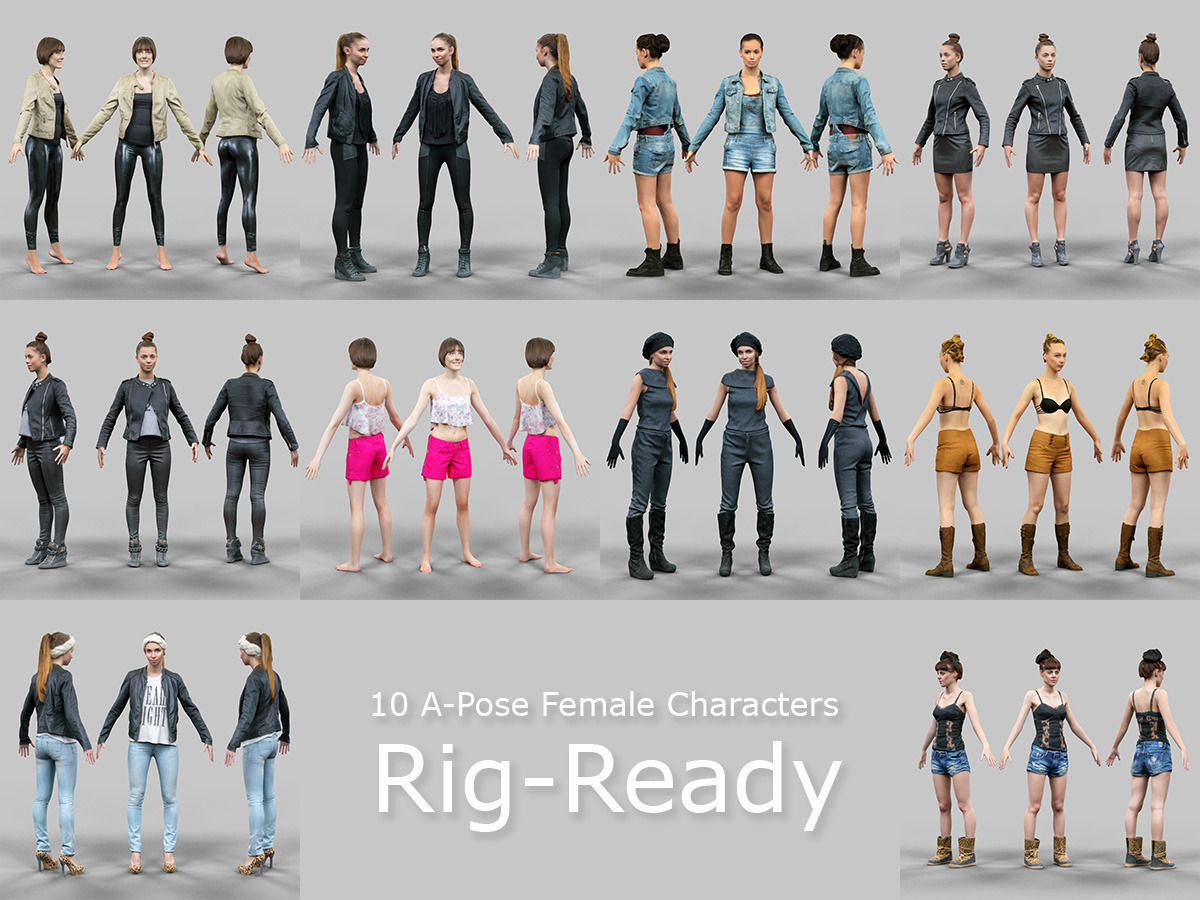 10 A-Pose Rig Ready Female Characters | 3D model