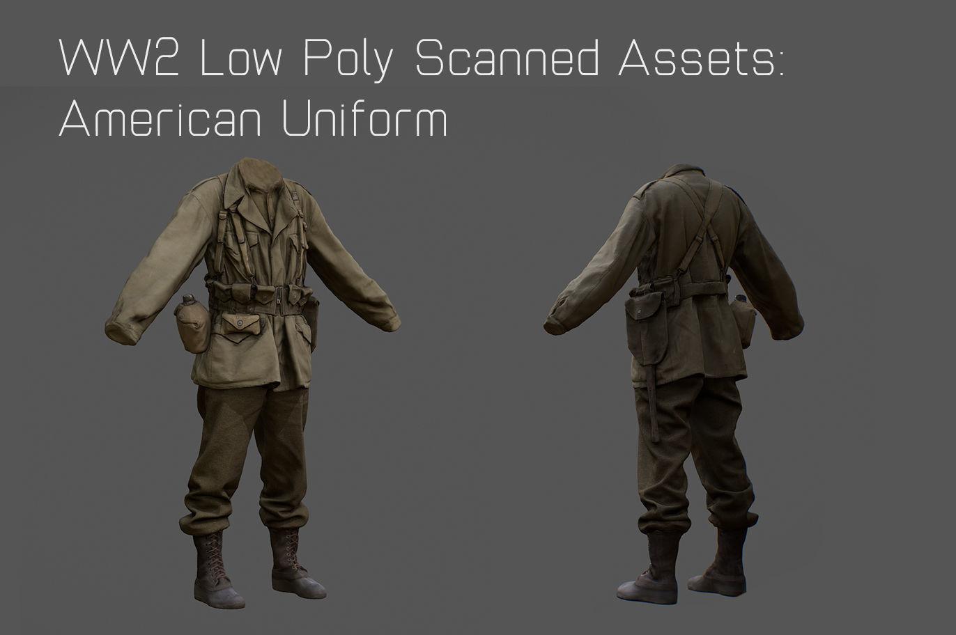 US American Uniform WW2 Photogrammetry Based 3D Scanned