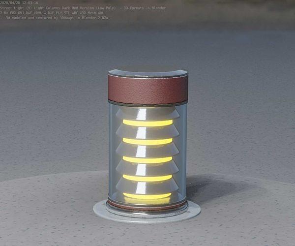 Dark Red Light-Column -3- Street-Light 9