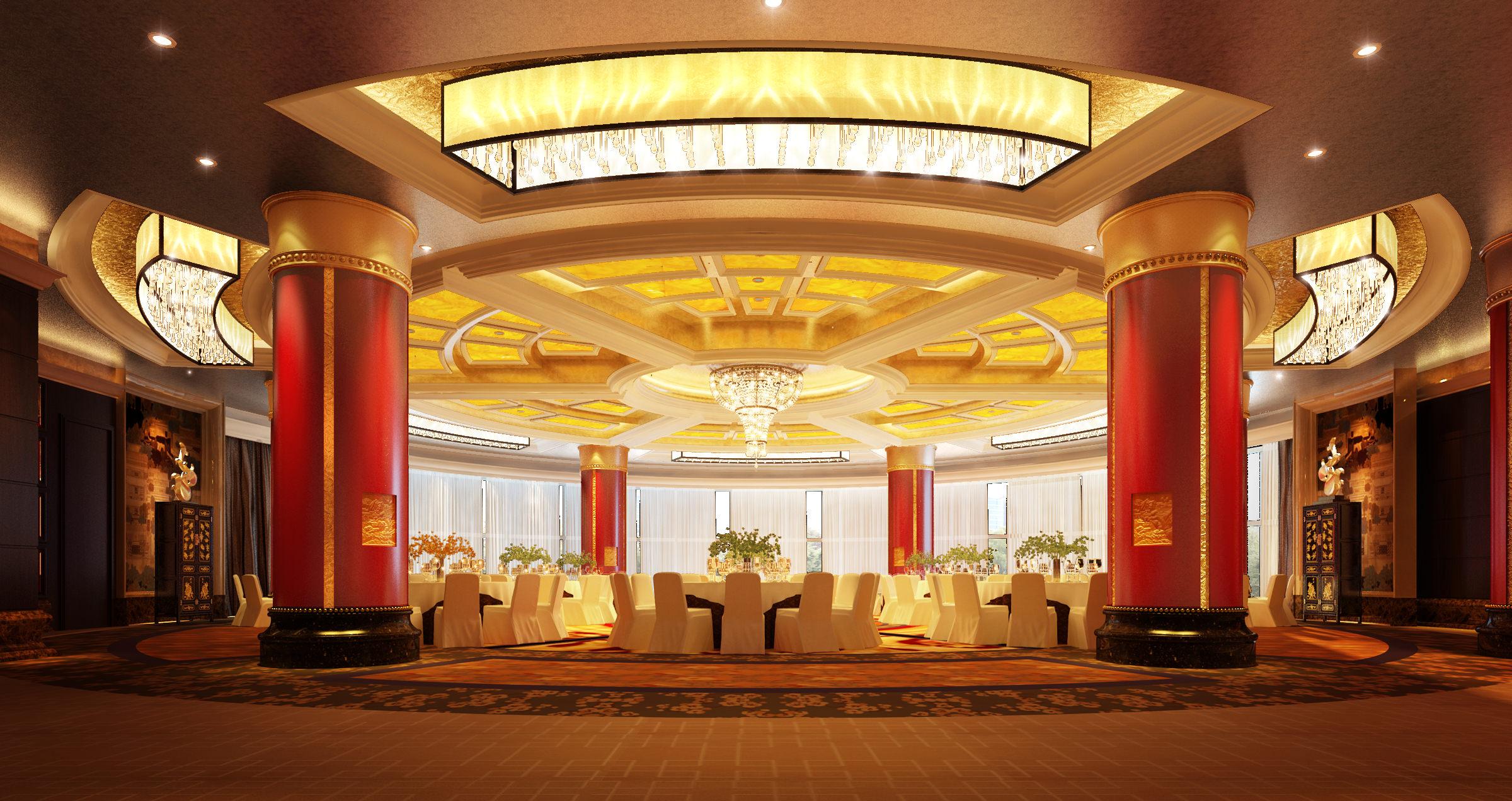 Banquet hall reception area download 3d house - Banquet Hall 3d Model Max 1