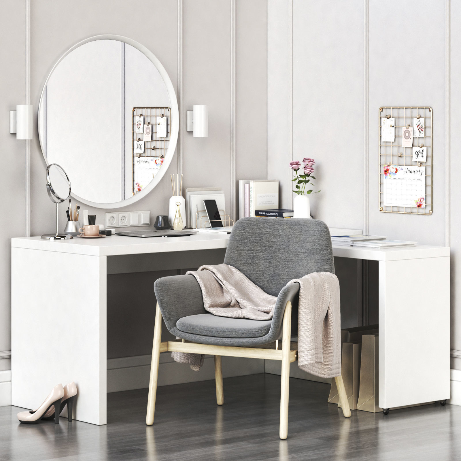 MALM corner dressing table and workplace