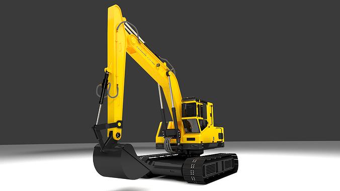 excavator 001 3d model obj mtl 1