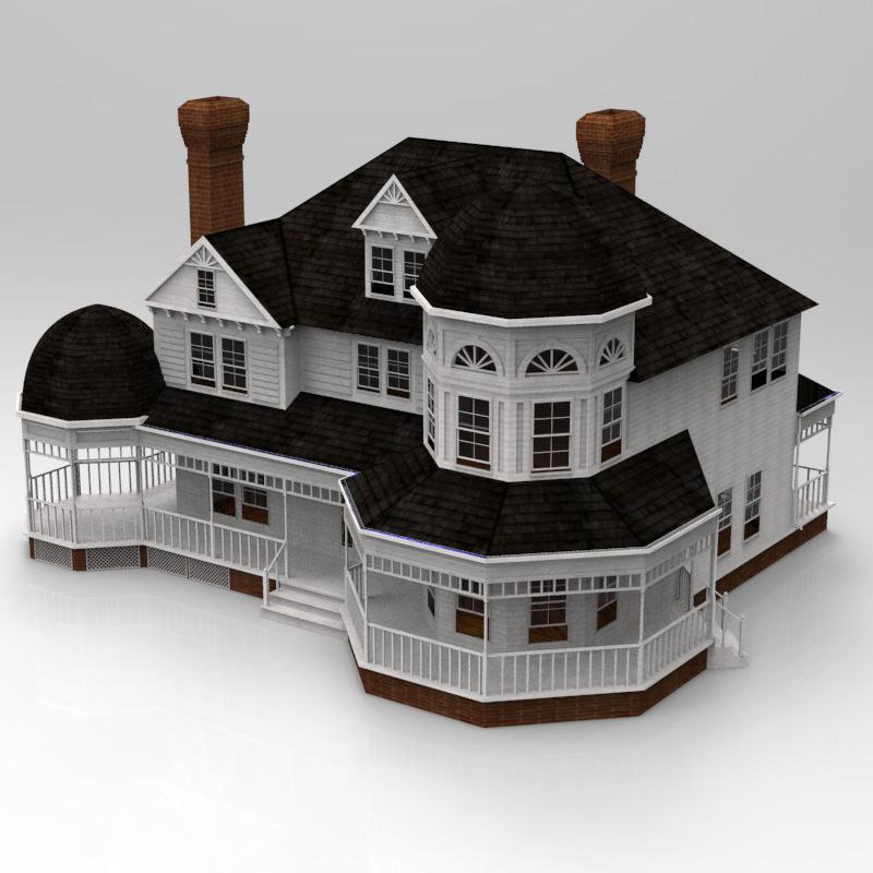 Victorian house 3d model max obj House 3d model