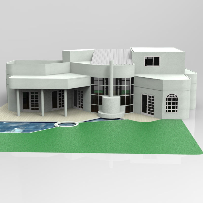 One and half story home 3d model max obj for Home 3d model