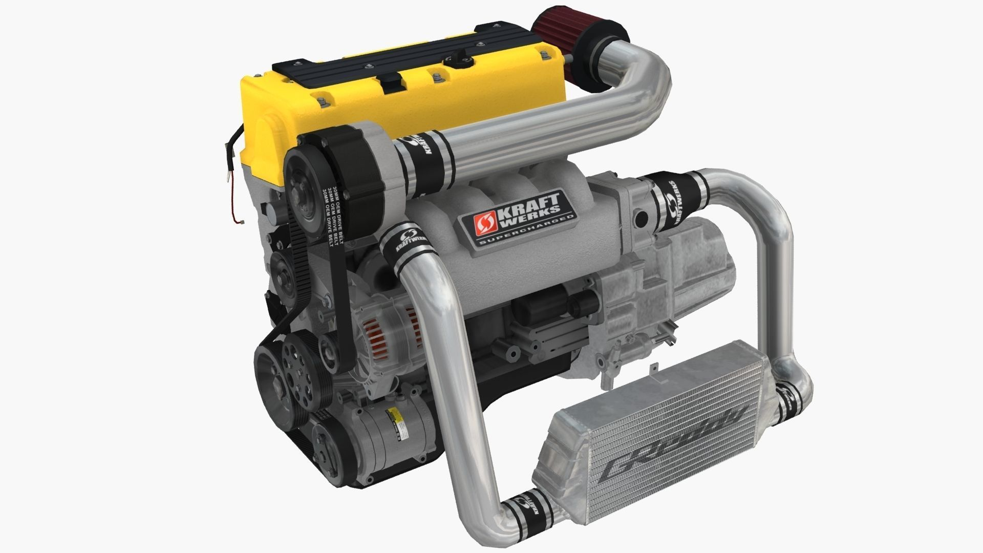 Honda K24A Kraftwerks supercharged engine 3D asset Kraftwerks Supercharger Rsx