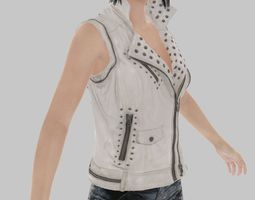 White Leather Jacket 3D Model