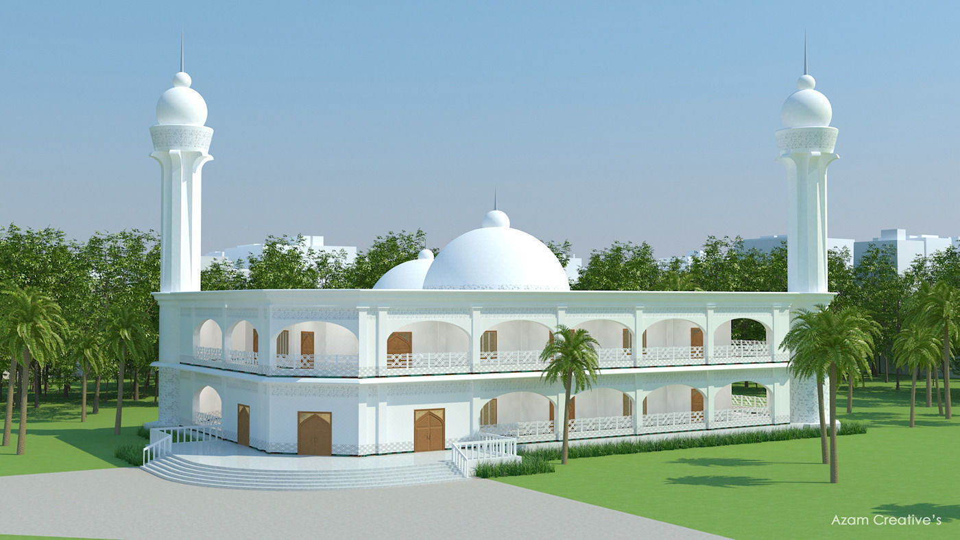 Masjid architecture 3d model max obj for Mosque exterior design