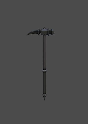 knight hammer 3d model low-poly obj mtl fbx tga 1