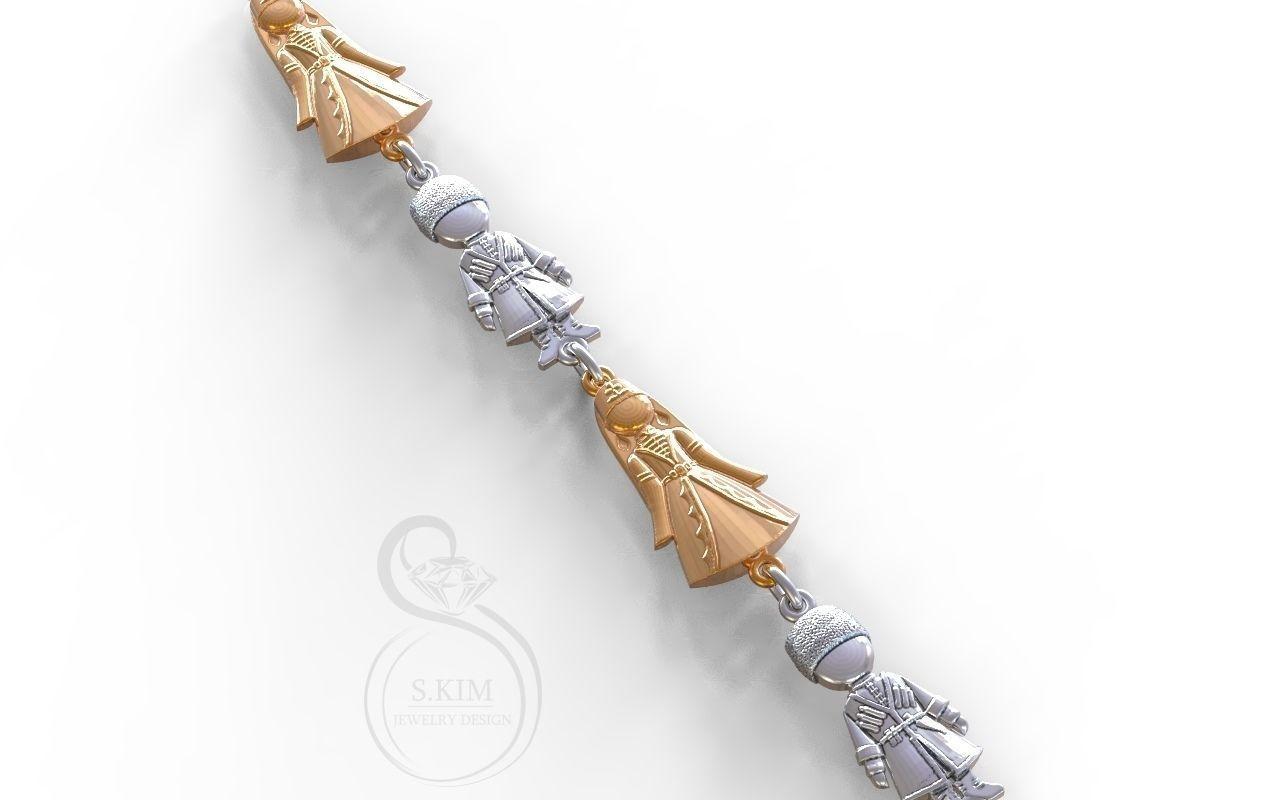 Caucasian boy and girl pendants and bracelete