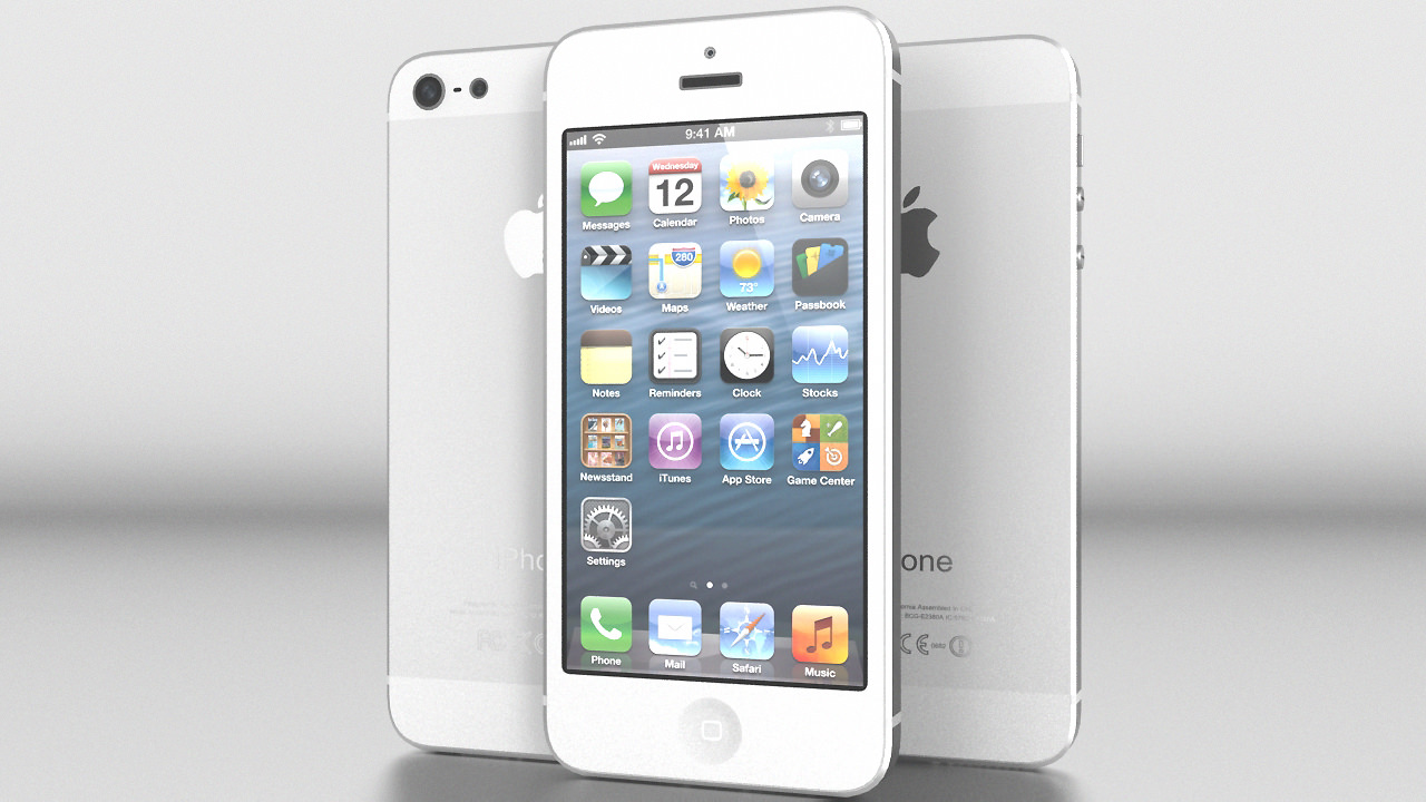 iPhone 5 White Silver Vray 3D Model .max .obj .3ds .fbx ...