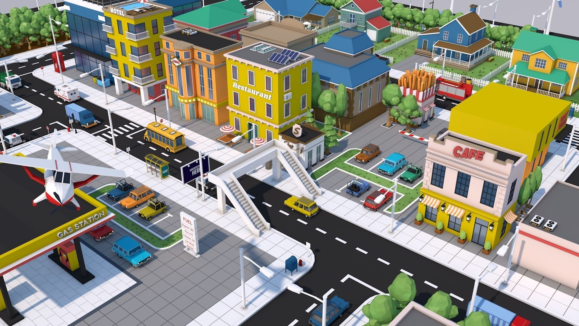 Low Poly City Town Pack