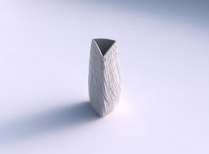 Vase curved tipping triangle with chaotic plates
