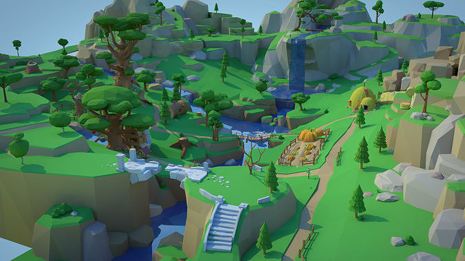 Low Poly Forest Scene with Tree Houses