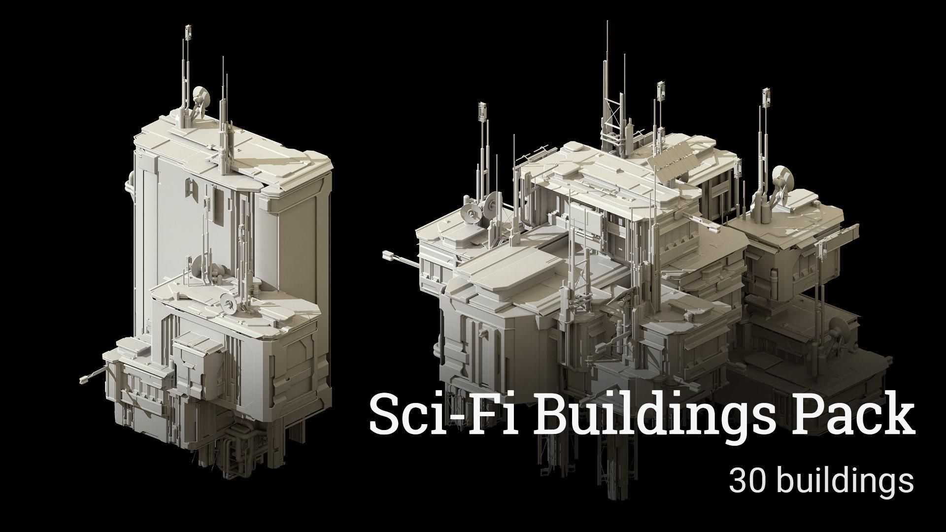 Sci-Fi Buildings Pack - 30 Buildings