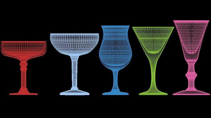 mega glass collection 01 3d model max obj 3ds fbx dxf dwg 6