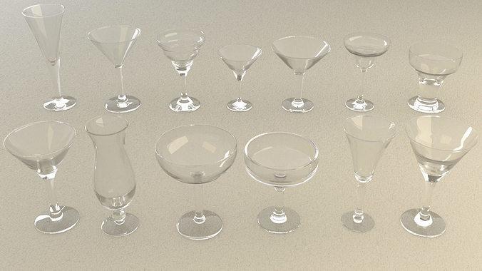 mega glass collection 01 3d model max obj 3ds fbx dxf dwg 3