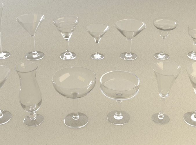 mega glass collection 01 3d model max obj 3ds fbx dxf dwg 3