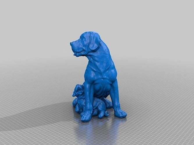 Labrador with puppy dog statue 3d scan cgtrader 3d printer models free