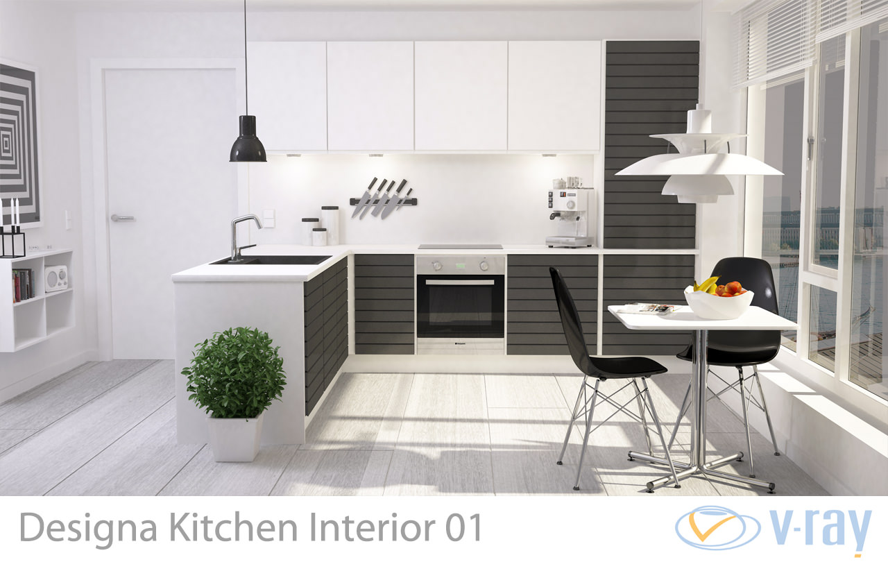 Modern kitchen interior 001 3d model max obj fbx dxf dwg for Kitchen room model