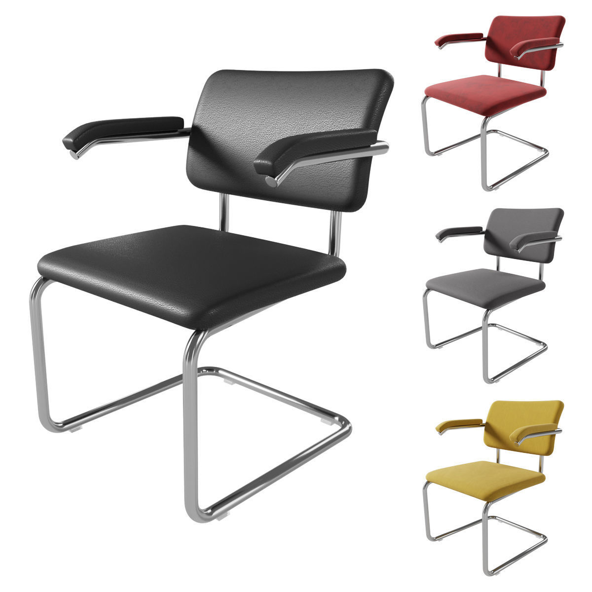Knoll Cesca Armchair Upholstered 3D model   CGTrader