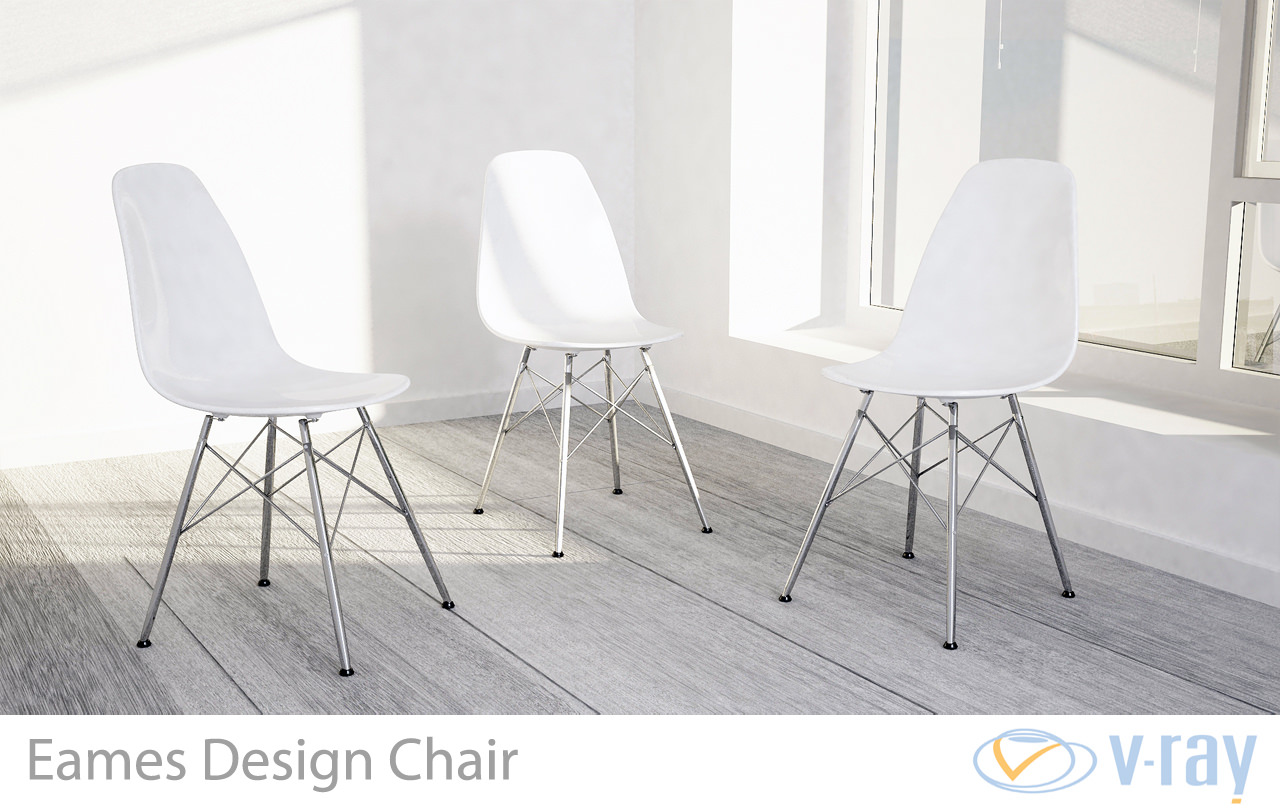 3D model Eames Design Chair White | CGTrader
