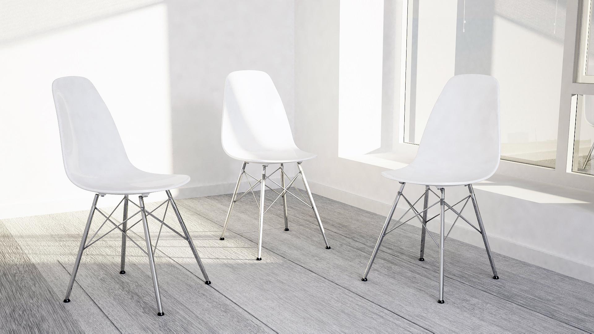 ... Eames Design Chair White 3d Model Max Obj 3ds Fbx Dxf Dwg 2 ...