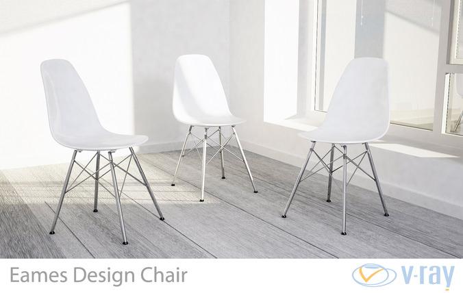 Eames Design Chair White3D model