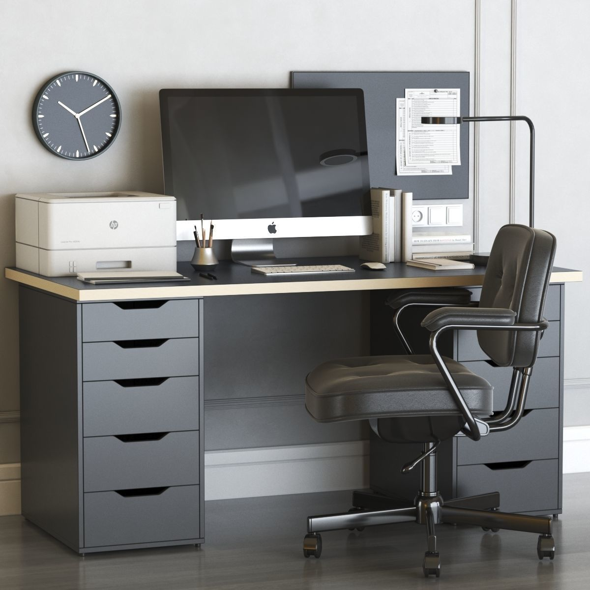 office workplace with ALEX table and ALEFJALL chair