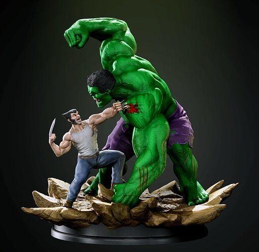 Hulk vs Wolverine diorama