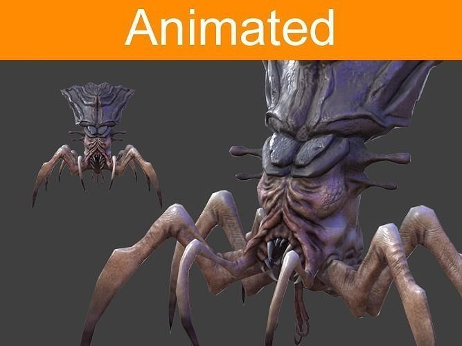 character arachnid 3d model low-poly rigged animated fbx tga 1