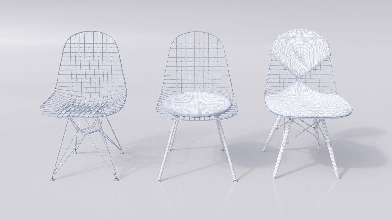 vitra eames wire chair dkr dkw dkx 3d model c4d. Black Bedroom Furniture Sets. Home Design Ideas