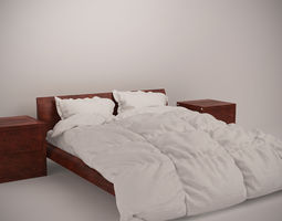 Wooden Bed Set with Duvet and Pillows 3D