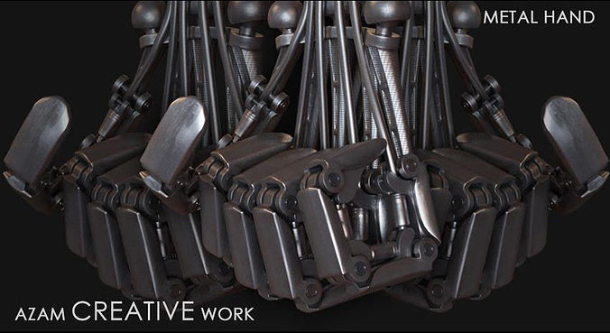metal hand 3d model rigged animated max obj mtl 1