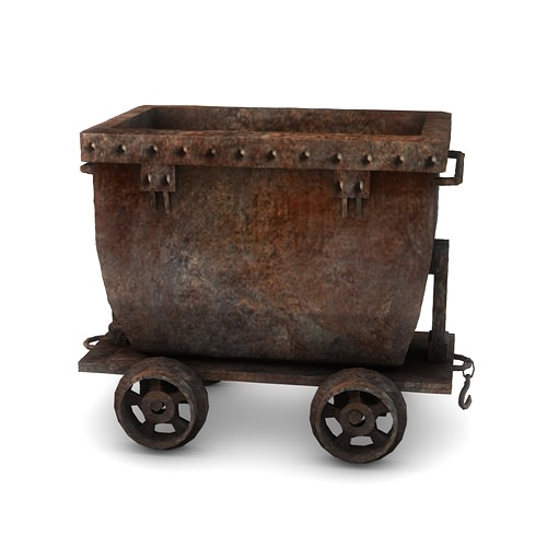 Low Poly Mine Cart 3d Model 3d Model Game Ready Max Obj