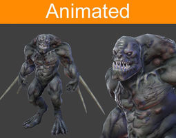 character reptil 3d model low-poly animated 3ds fbx