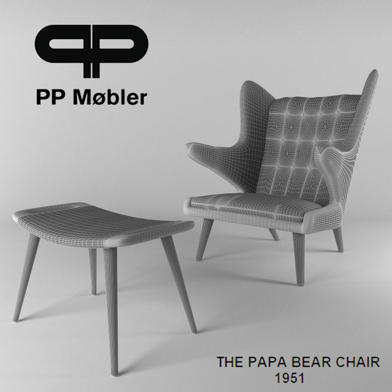 The papa bear chair and ottoman 3D Model animated rigged MAX FBX