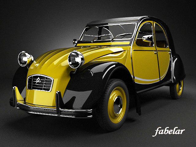 citroen 2cv yellow 3d vray