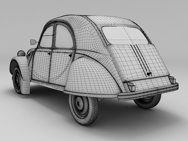 citroen 2cv yellow 3d model  max  obj  3ds  fbx  lwo  lw  lws