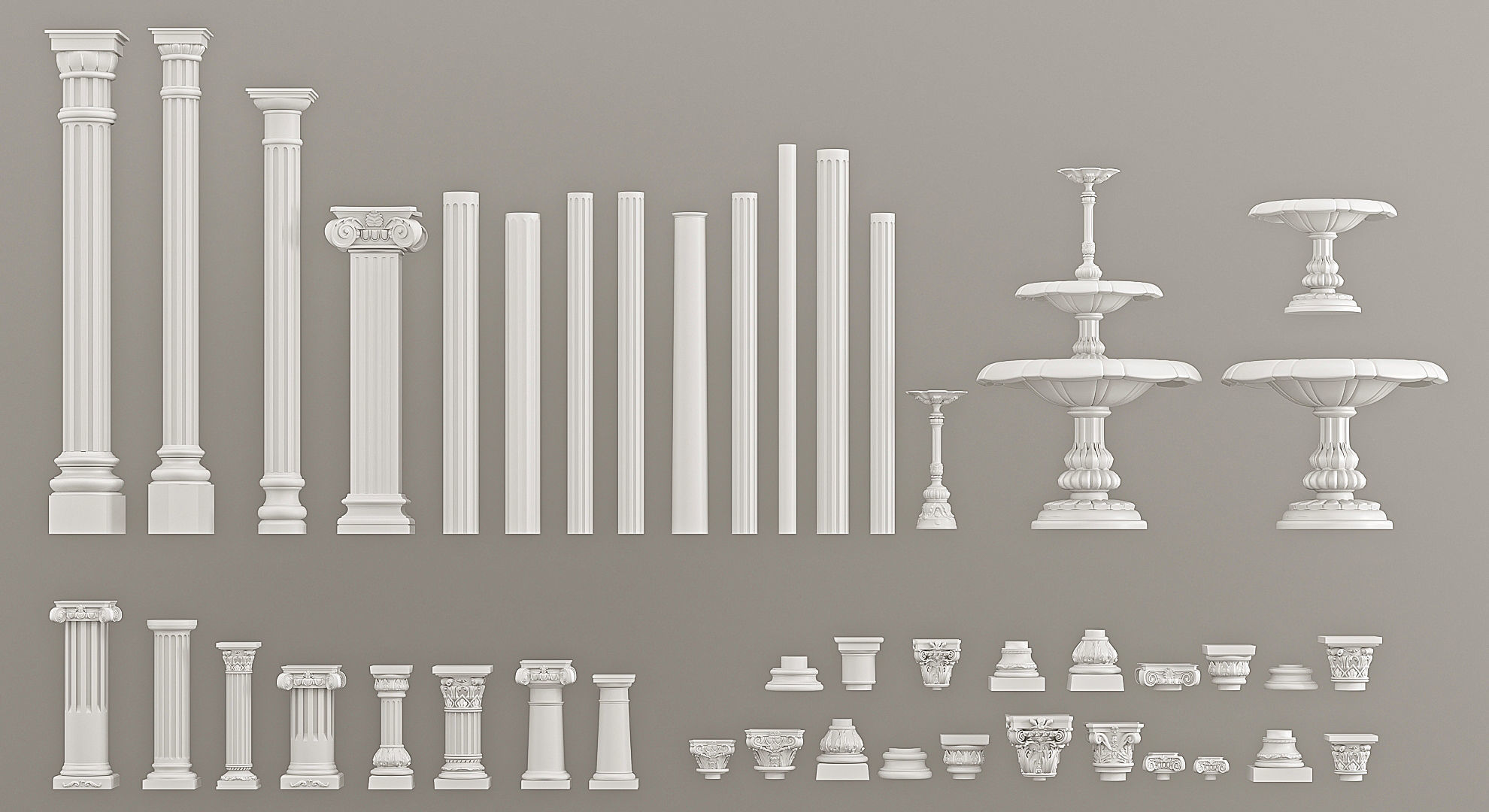 Columns Pedestals Decorative Gaudi Elements 3D model