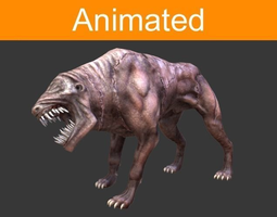 game-ready infernal dog animated 3d asset