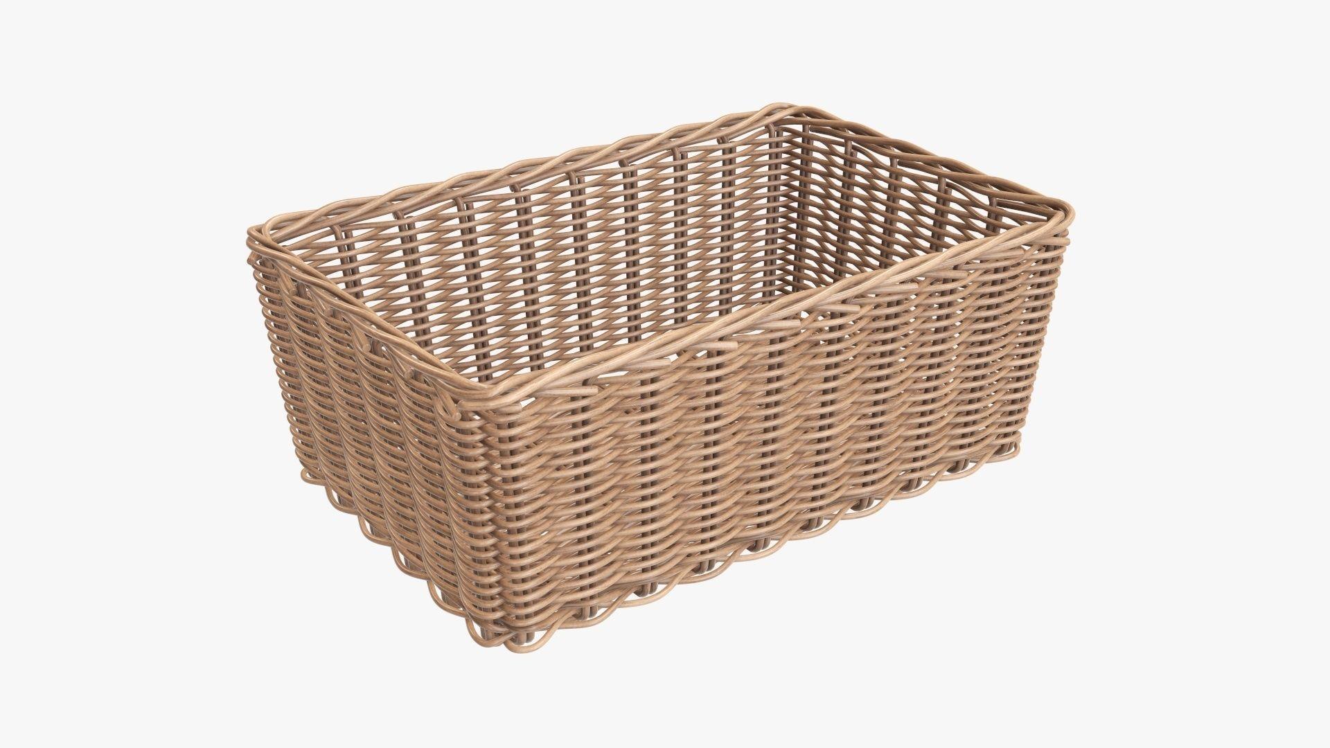 Wicker basket rectangular 01 light brown