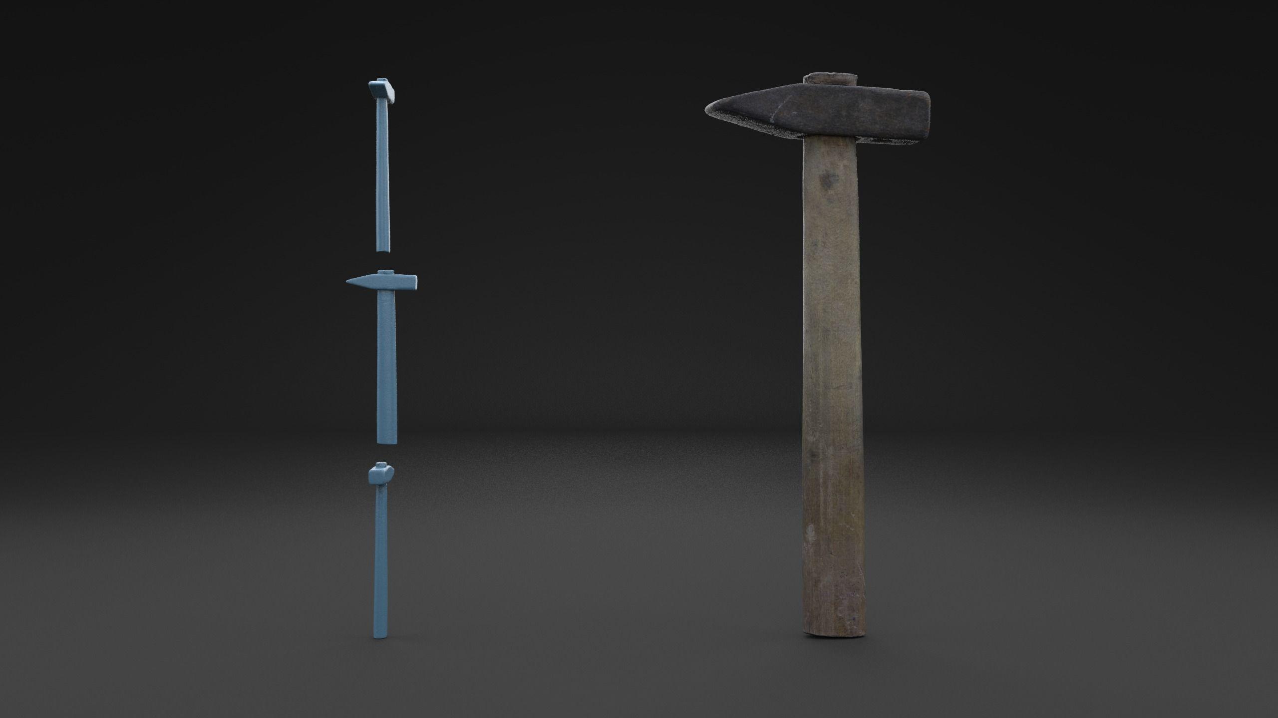 Scanned Old Damaged Hammer  HIGH POLY