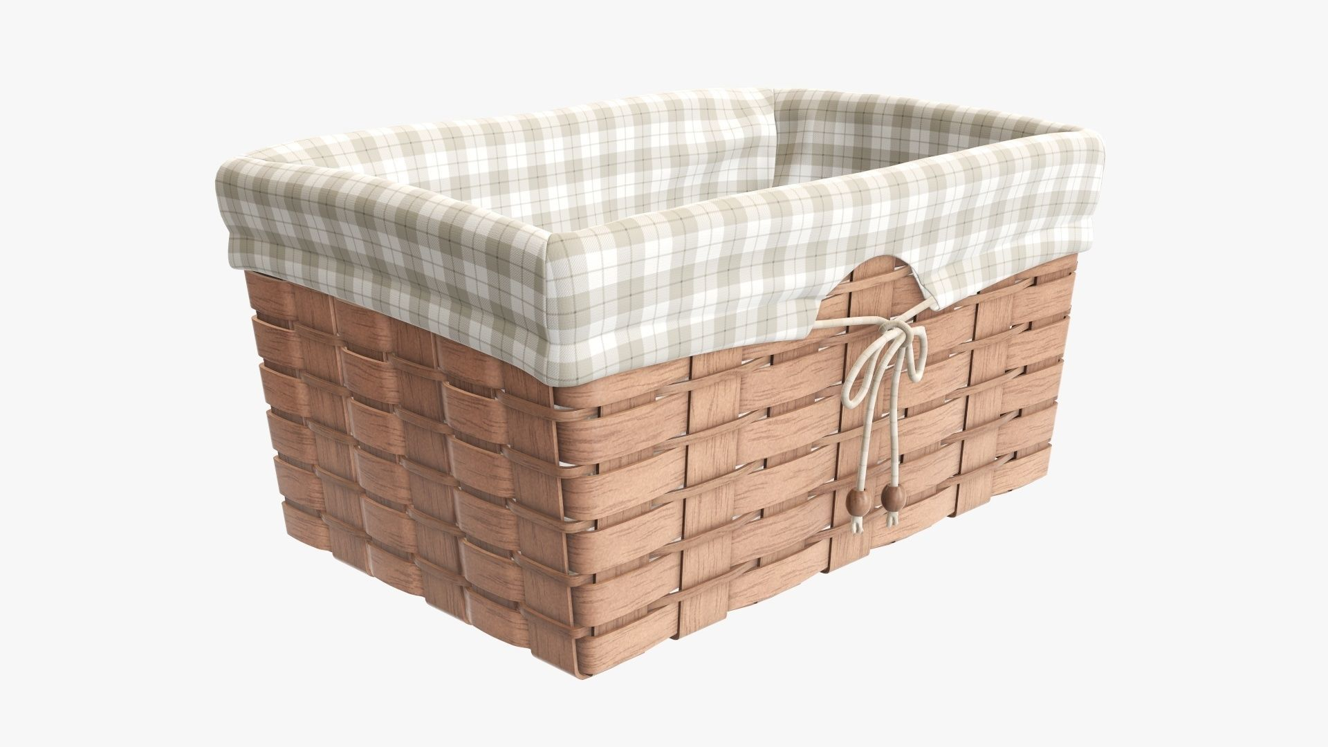 Wicker basket light brown with fabric interior