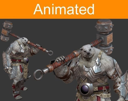 animated character bear 3d model game-ready