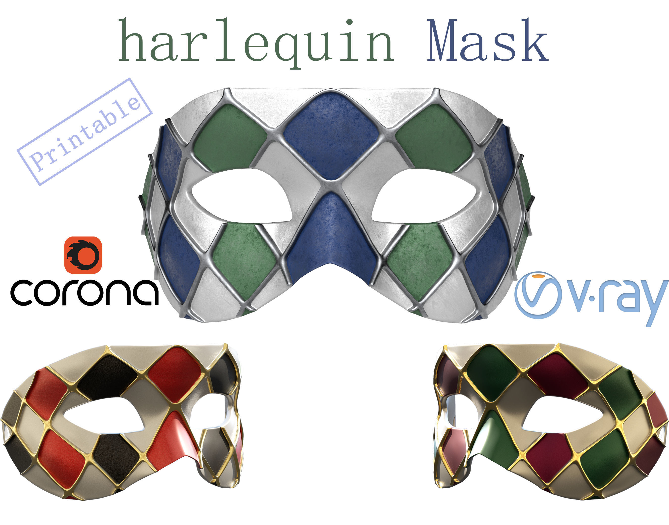 LowPoly - HighPoly 3d print Venetian Harlequin face Mask