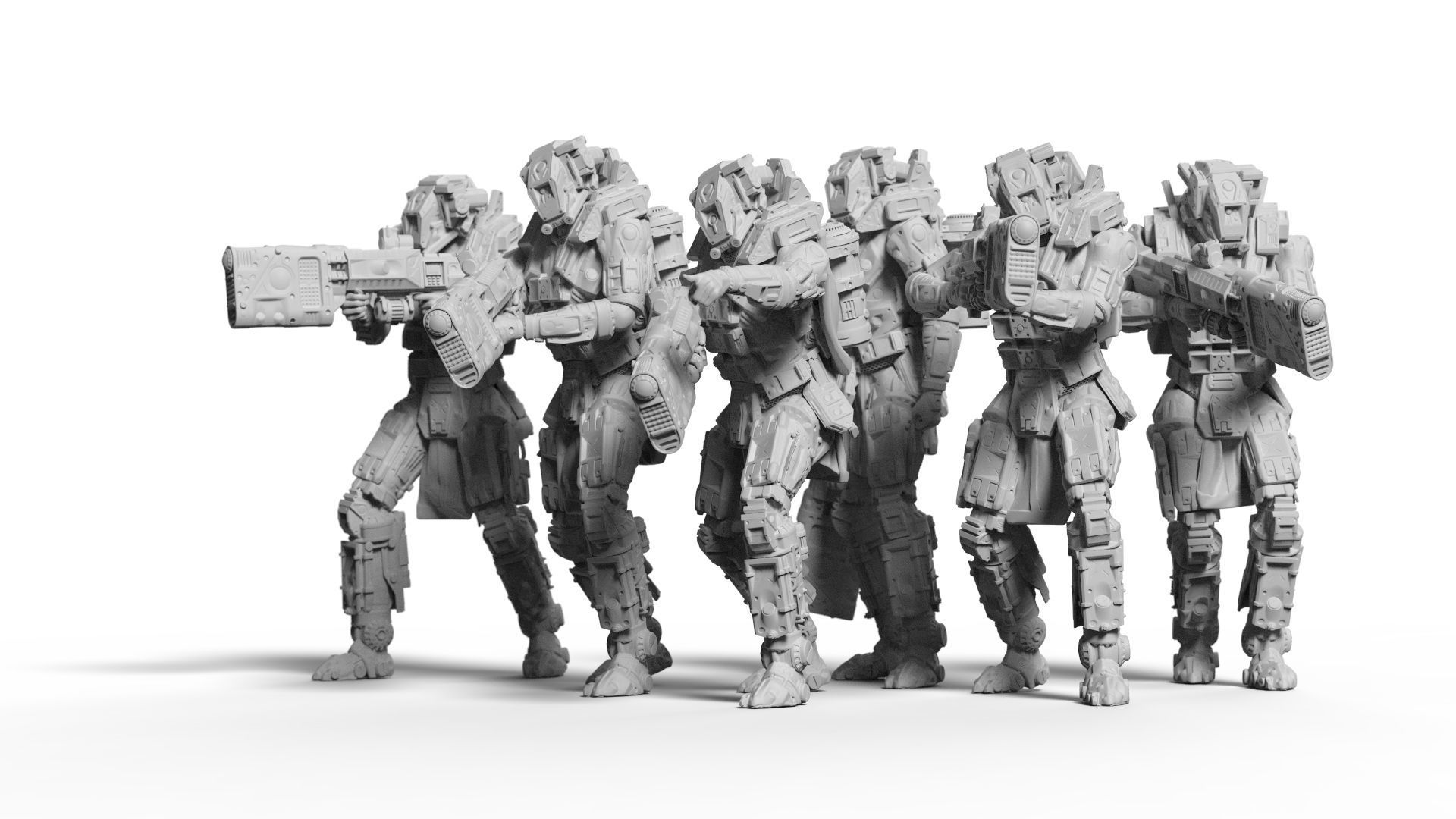 Sci Fi Battle Armor Miniatures - Energy Laser Rifle Team