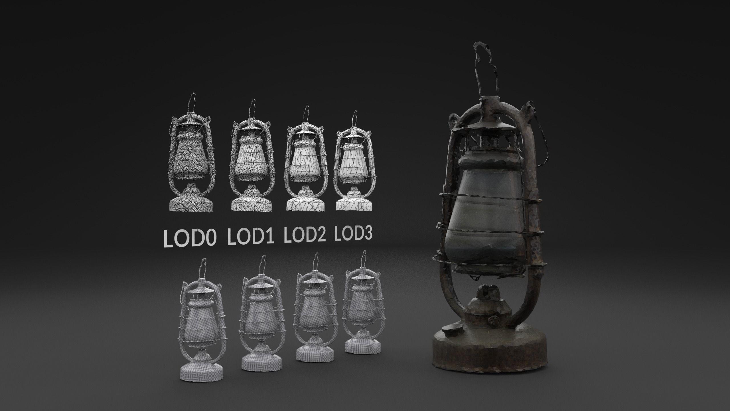Scanned Old Kerosene Lamp LOW POLY LODs
